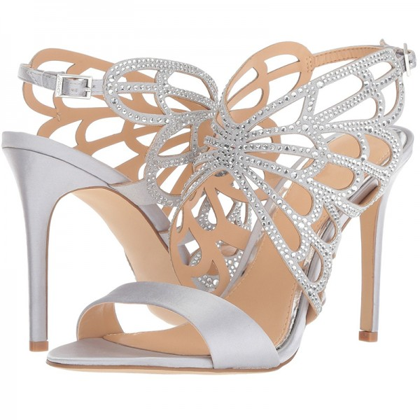 Silver Bridal Heels Butterfly Style Rhinestone Hotfix Sandals image 1