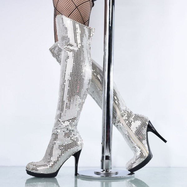 510baaaf166c Silver Sequin Boots Closed Toe Over-the-Knee Stripper Boots image 1 ...