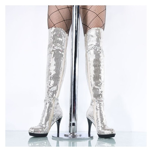 Silver Sequin Boots Closed Toe Over-the-Knee Stripper Boots image 3