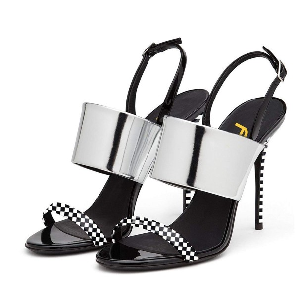 Silver Slingback Heels Open Toe Stiletto Heels Black and White Plaid Sandals image 1