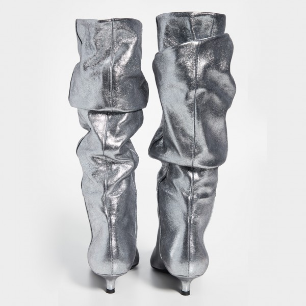 Silver Slouch Pointed Toe Kitten Heel Boots Mid-Calf Boots image 3