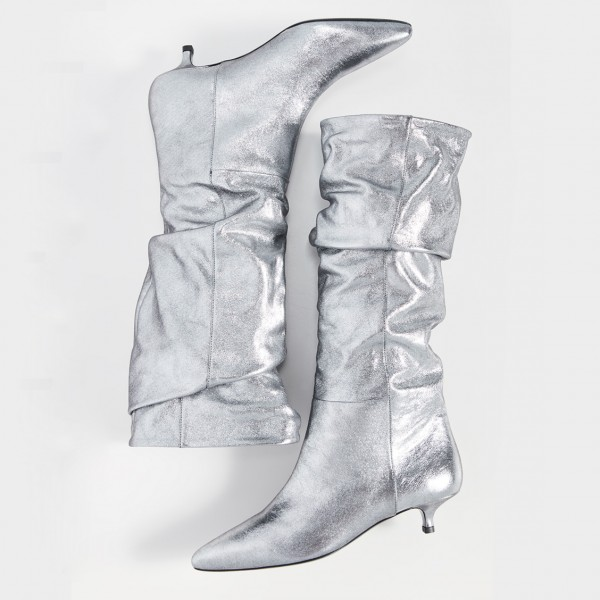 Silver Slouch Pointed Toe Kitten Heel Boots Mid-Calf Boots image 4