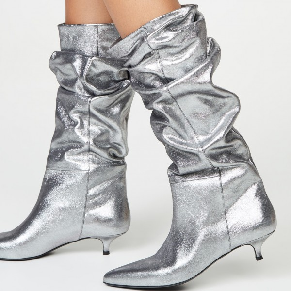 Silver Slouch Pointed Toe Kitten Heel Boots Mid-Calf Boots image 2