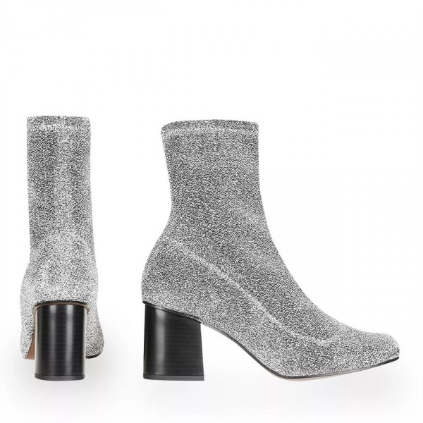 Silver Sock Boots Block Heel Fashion Ankle Boots US Size 3-15 image 3