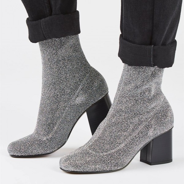 Silver Sock Boots Block Heel Fashion Ankle Boots US Size 3-15 image 2