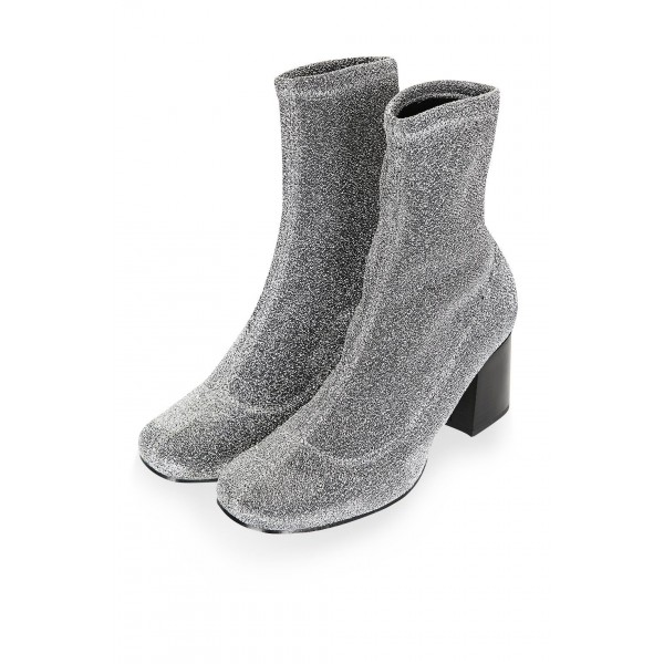Silver Sock Boots Block Heel Fashion Ankle Boots US Size 3-15 image 4