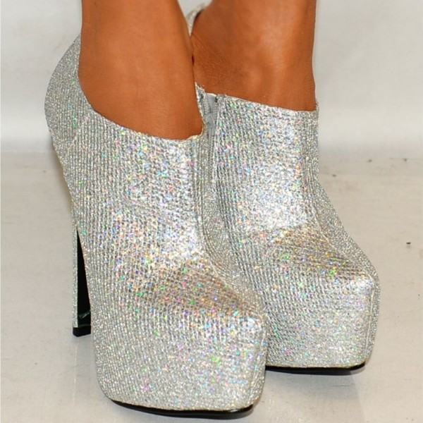 Silver Glitter Shoes Platform Boots Sparkly Ankle Booties image 3