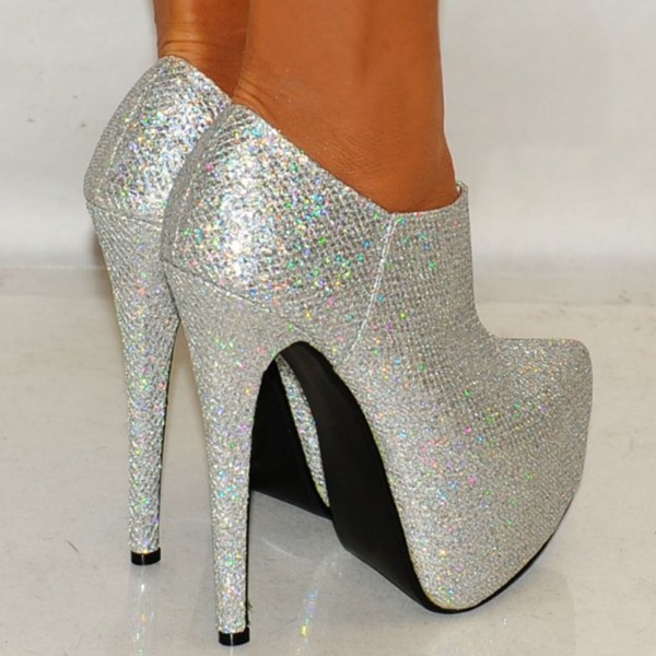 Silver Glitter Shoes Platform Boots Sparkly Ankle Booties image 4