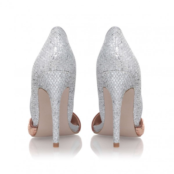Champagne and Silver Sequined Sparkly Heels Pointy Toe Pumps image 3