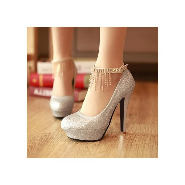 Silver Sparkly Heels Ankle Strap Pumps Glitter Shoes with Platform image 1