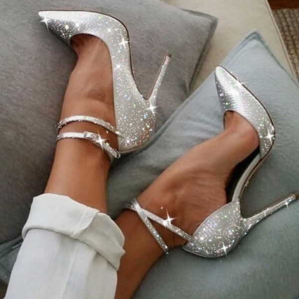 Silver Sparkly Heels Ankle Strap Stiletto Heel Pumps image 1