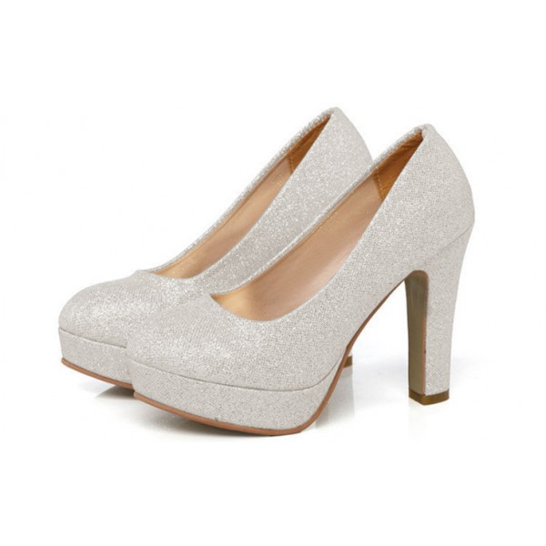 Silver Sparkly Heels Block Heel Pumps with Platform image 1
