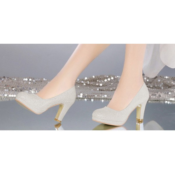 Silver Sparkly Heels Block Heel Pumps with Platform image 3