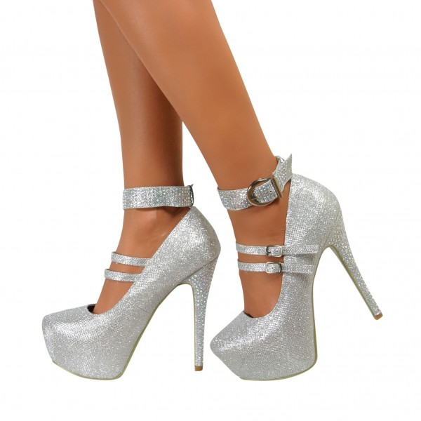 Silver Sparkly Heels Prom Shoes Ankle Strap Stiletto Heel Pumps image 1