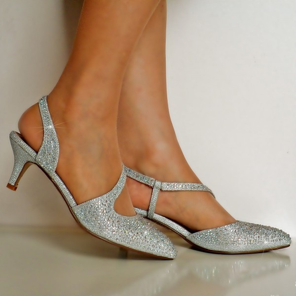 Silver Rhinestone Wedding Shoes Pointy Toe Slingback Kitten Heels image 3