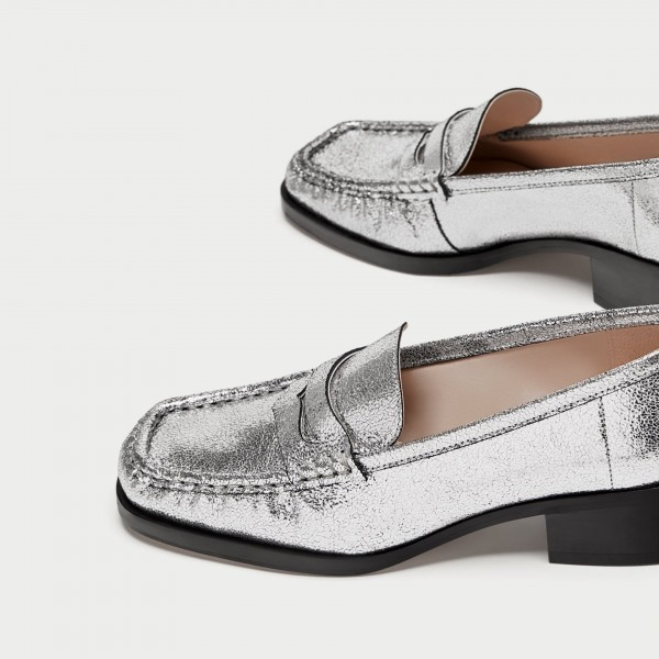 Silver Square Toe Low Heel Slip-on Penny Loafers for Women ...