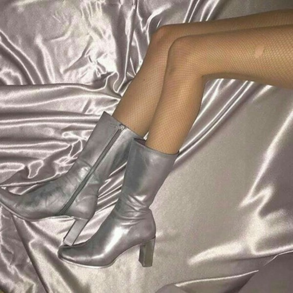 Silver Square Toe Boots Chunky Heel