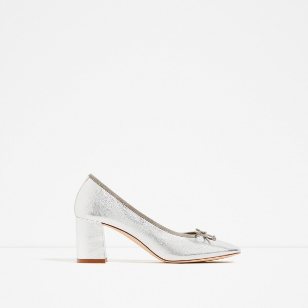 Silver Square Toe Chunky Heel Bow Detailed Basic Pumps image 3