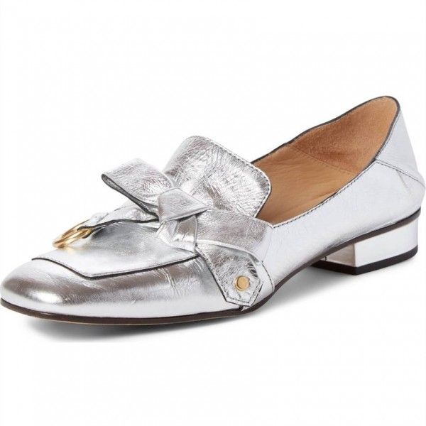 Silver Square Toe Loafers for Women Comfortable Flats with Bow image 1