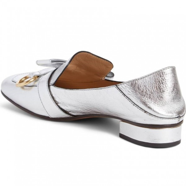 Silver Square Toe Loafers for Women Comfortable Flats with Bow image 2