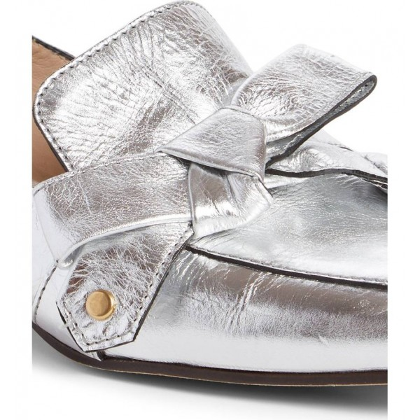Silver Square Toe Loafers for Women Comfortable Flats with Bow image 3
