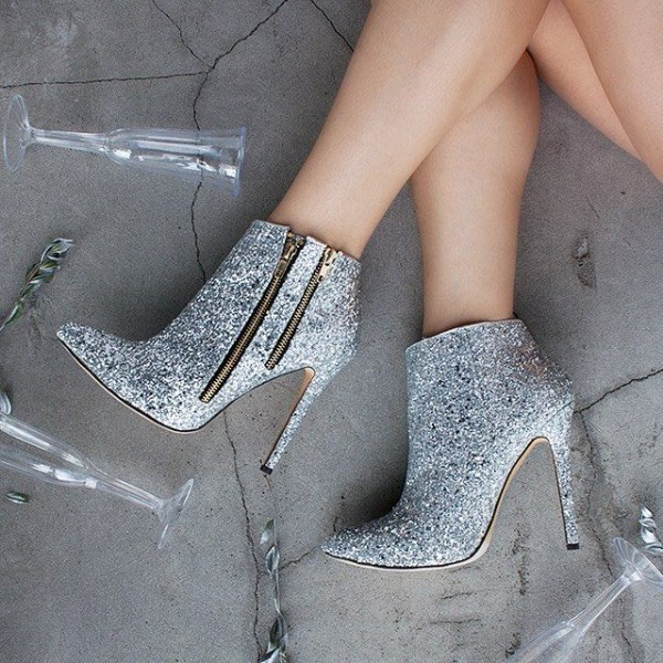 Silver Stiletto Boots Glitter Shoes Pointy Toe Ankle Fashion Boots image 1
