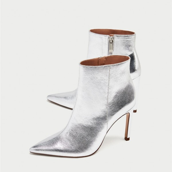 Silver Stiletto Boots Mirror Leather Pointy Toe Ankle Fashion Boots image 1