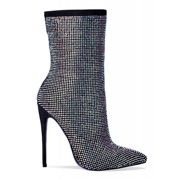 Black Stiletto Boots Pointy Toe Strass Hotfix Ankle Booties image 4