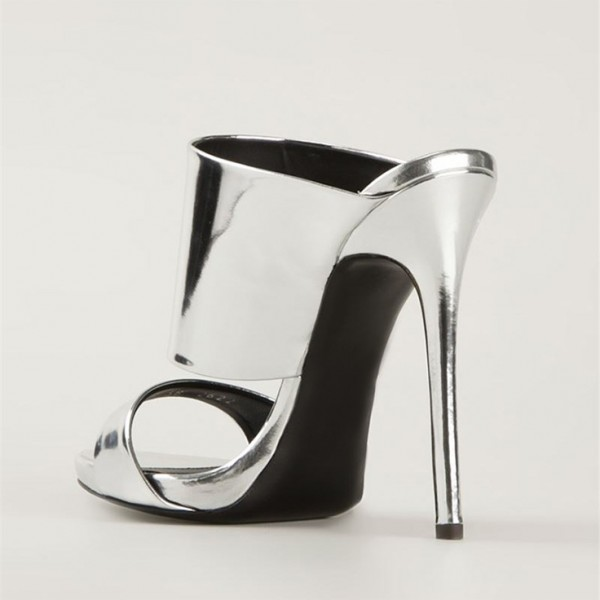 Silver Metallic Mule Heels Open Toe Stiletto Heels for Office Lady image 5