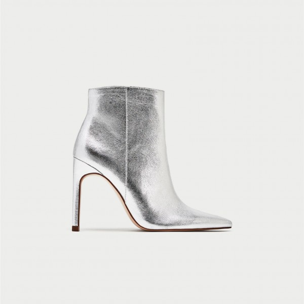 Silver Stiletto Boots Mirror Leather Pointy Toe Ankle Fashion Boots image 3