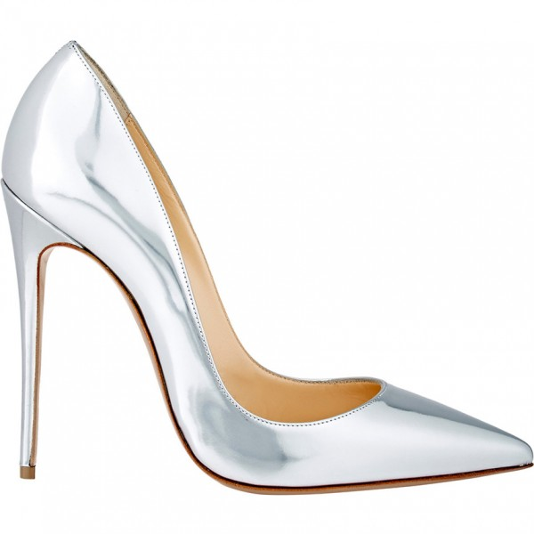 Silver Metallic Heels Pointy Toe Stiletto Heels Pumps for Office Lady image 6