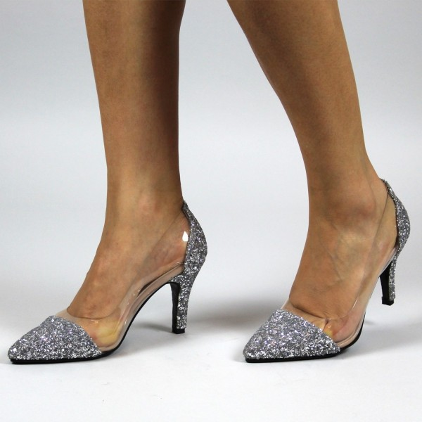 d67850bb6fe Silver Transparent Glitter Shoes Pointed Toe Pumps Stiletto Heels