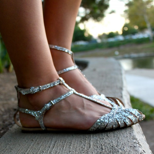 Silver Wedding Flats T Strap Glitter Shoes for Bridesmaid image 4