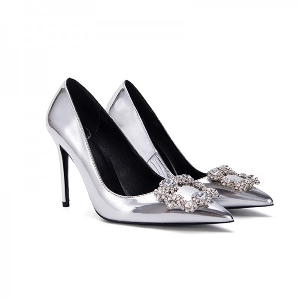 Women's Silver Bridal Shoes Mirror Leather Crystal Stiletto Heels image 3