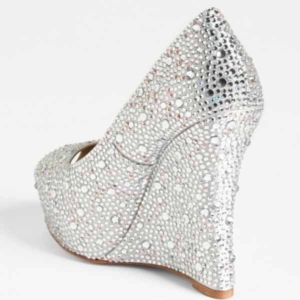 Silver Wedding Heels Rhinestone Peep Toe Wedge Heel Pumps image 3