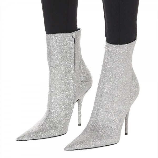 Silver Zipper Glitter Boots Pointy Toe Stiletto Heel Ankle Booties  image 1
