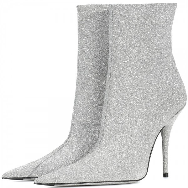 Silver Zipper Glitter Boots Pointy Toe Stiletto Heel Ankle Booties  image 2