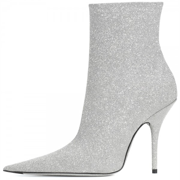 Silver Zipper Glitter Boots Pointy Toe Stiletto Heel Ankle Booties  image 3