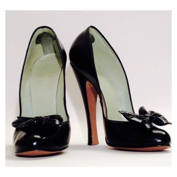 Women's Leila Black 4 Inch Heels Vintage Pumps Shoes image 1