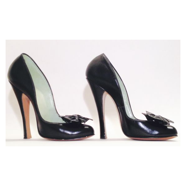 Women's Leila Black 4 Inch Heels Vintage Pumps Shoes image 2