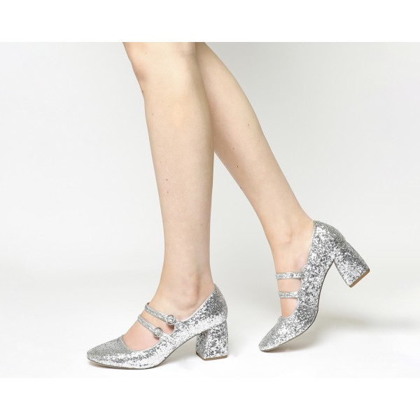 Silver Block Heel Glitter Mary Jane Shoes image 4