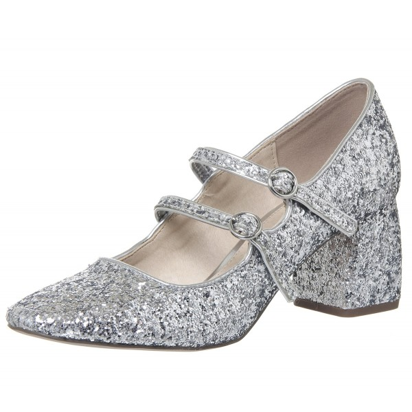 Silver Block Heel Glitter Mary Jane Shoes image 3