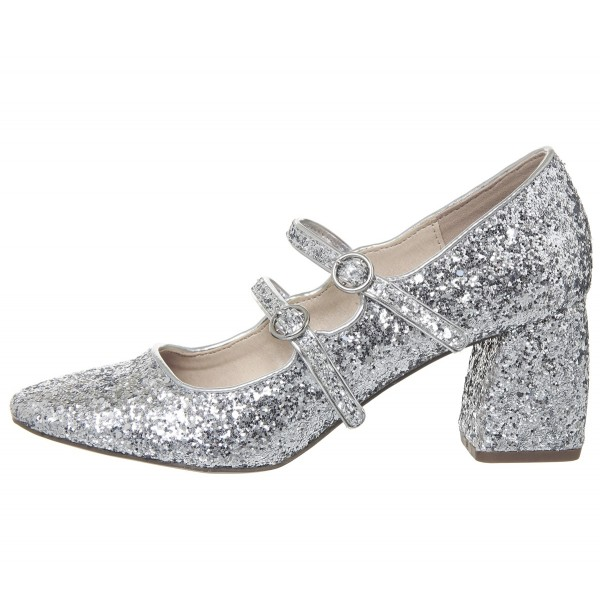 Silver Block Heel Glitter Mary Jane Shoes image 2