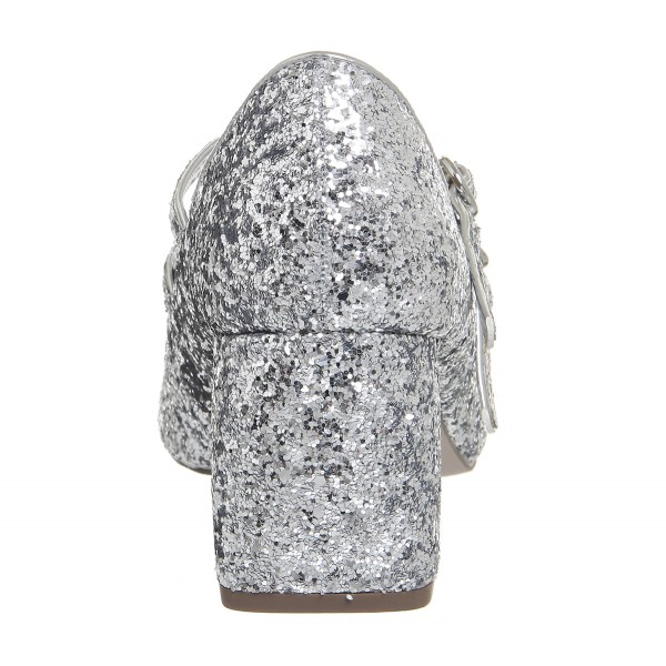 Silver Block Heel Glitter Mary Jane Shoes image 5