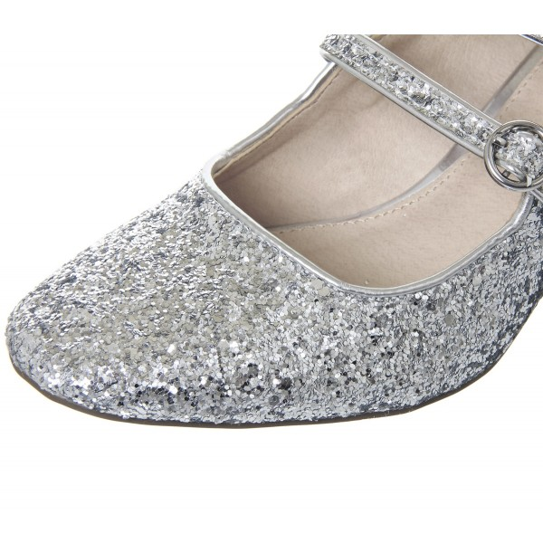 Silver Block Heel Glitter Mary Jane Shoes image 6