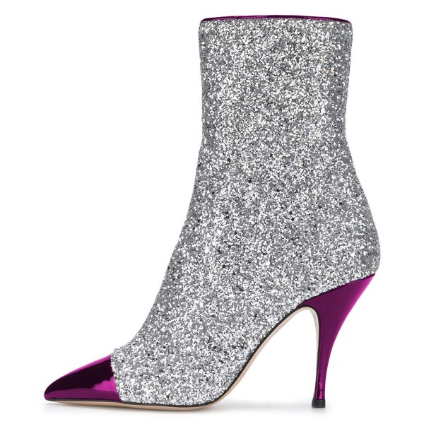 FSJ Purple and Silver Glitter Pointy Toe Fashion Ankle Booties image 3