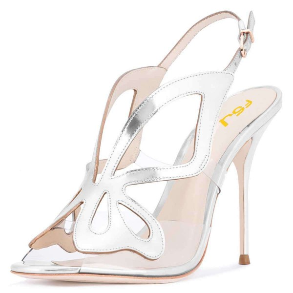 5630dfcfaa5 Sliver Hollow Out Clear PVC Slingback Heels Sandals