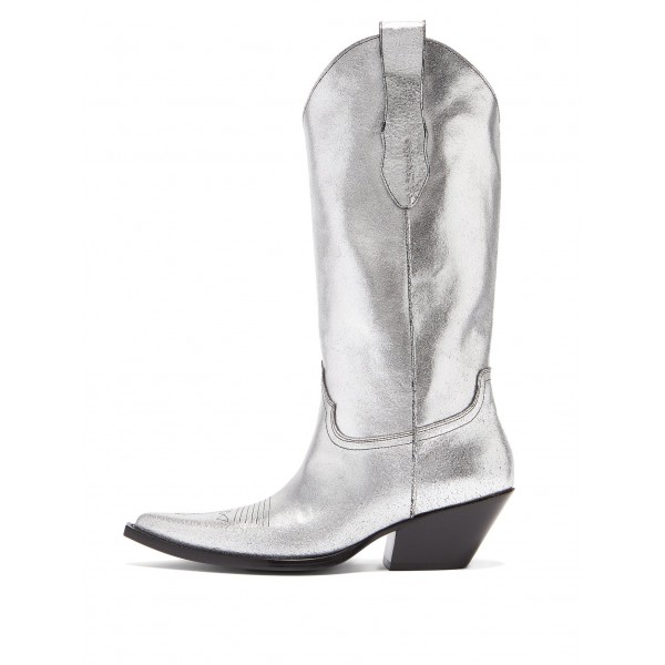 Silver Pointy Toe Cowgirl Boots Chunky Heel Mid Calf Boots image 1