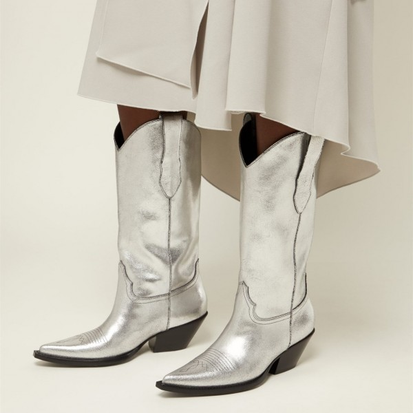 Silver Pointy Toe Cowgirl Boots Chunky Heel Mid Calf Boots image 2