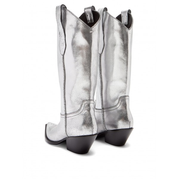 Silver Pointy Toe Cowgirl Boots Chunky Heel Mid Calf Boots image 4